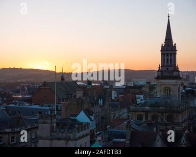 Oxford Sunset, All Saints Church Spire, Library of Lincoln College, Oxford University, Oxford, Oxfordshire, England, UK, GB. - Stock Photo