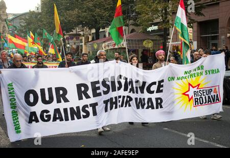Frankfurt am Main, Germany - October 10 2019: Protest against Turkish President carrying out war and attacks in Northern Syria, in Frankfurt am Main, - Stock Photo