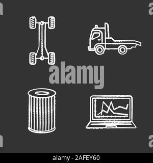 Auto workshop chalk icons set. Car chassis frame, tow truck, air filter, computer diagnostics. Isolated vector chalkboard illustrations - Stock Photo