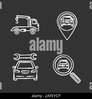 Auto workshop chalk icons set. Tow truck, gps navigation, repair service, car searching. Isolated vector chalkboard illustrations - Stock Photo