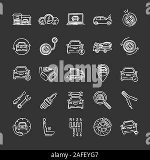Auto workshop chalk icons set. Car service. Instruments, equipment and spare parts. Isolated vector chalkboard illustrations - Stock Photo