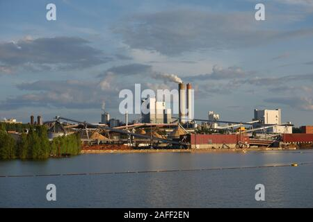 Lappeenranta, Finland - June 2, 2018: View to UPM Pulp plant from lake Saimaa. Founded in 1892, now UPM Pulp has 1900 employees, 4 pulp mills with pro - Stock Photo