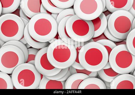 Badges with flag of Japan, 3D rendering - Stock Photo