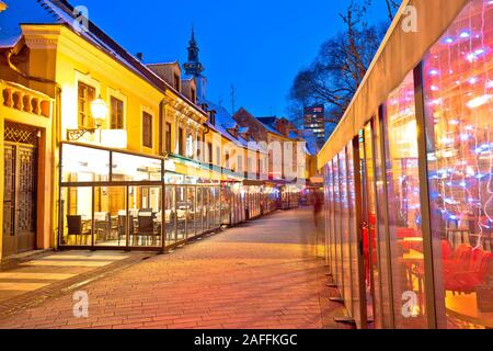 Historic old Tkalciceva street of Zagreb evening advent view, capital of Croatia