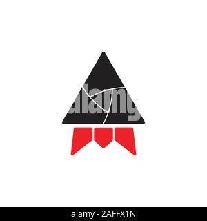 triangle rocket geometric design vector - Stock Photo