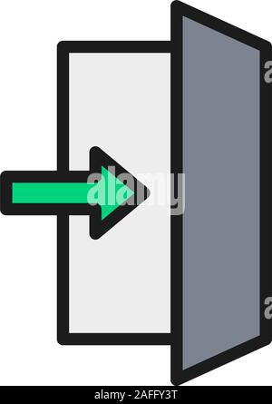 Fire exit sign, emergency exit flat color line icon. - Stock Photo