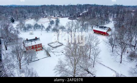 Lancaster, Pennsylvania - Jan 13 2019: Rock Ford plantation in Lancaster, PA in winter, colonial residential home in snow covered countryside - Stock Photo
