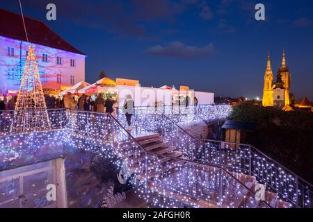 Klovicevi Dvori gallery decorated for the Advent in town Zagreb, Croatia - Stock Photo