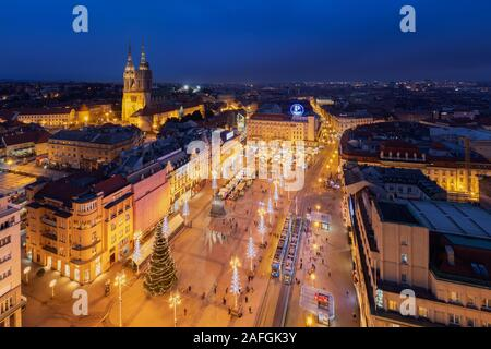 Zagreb city center decorated during the Advent, Croatia - Stock Photo