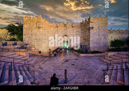 Jerusalem Israel. Damascus gate at sunset - Stock Photo