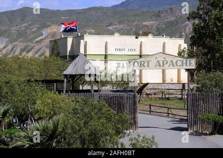 Entrance to Fort Apache at Mini Hollywood with mountains to the rear, Tabernas, Almeria Province, Andalucia, Spain, Europe.