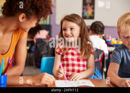 Elementary School Teacher Giving Female Pupil One To One Support In Classroom
