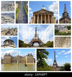 Paris, France - travel photo collage with Pantheon, Luxembourg Palace and Eiffel Tower. - Stock Photo