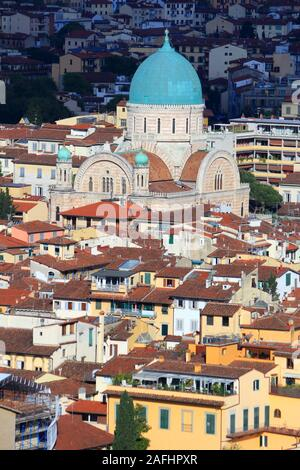 Florence city aerial view with Great Synagogue. Old town architecture in Florence (Tuscany, Italy). - Stock Photo