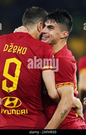 Diego Perotti of Roma celebrates with Edin Dzeko after scoring 2-1 goal during the Italian championship Serie A football match between AS Roma and Spal 2013 on December 15, 2019 at Stadio Olimpico in Rome, Italy - Photo Federico Proietti/ESPA-Images - Stock Photo