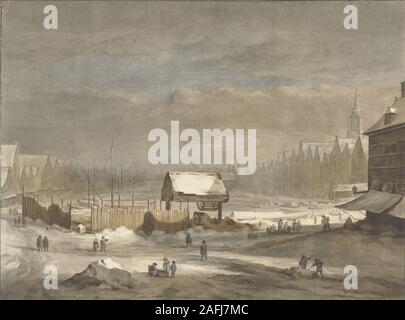 The Damrak in winter, Hendrik Pothoven, after Jacob Isaacksz van Ruisdael, after Salomon van Ruysdael, 1735 - 1807.j.jpg - 2AFJ7MC - Stock Photo