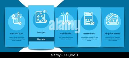 Electrical Waste Tools Onboarding Elements Icons Set Vector - Stock Photo