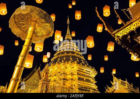 Yee peng festival and sky lanterns at Wat Phra That Doi Suthep in Chiang Mai, Thailand. - Stock Photo