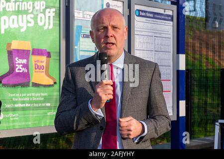 Warrington, Cheshire, UK. 16th Dec, 2019. Russ Bowden, Leader of Warrington Borough Council, addresses the guests at the official opening of Warrington West Railway Station on 16 December 2019 Credit: John Hopkins/Alamy Live News - Stock Photo