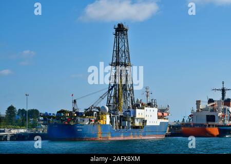 Perth, WA, Australia - November 27, 2017: Drill ship on pier at Fremantle harbor - Stock Photo