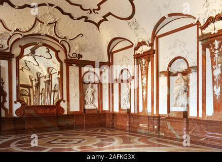 Belvedere Palace Vienna; the Marble Hall in the interior of Lower Belvedere, Vienna Austria - Stock Photo