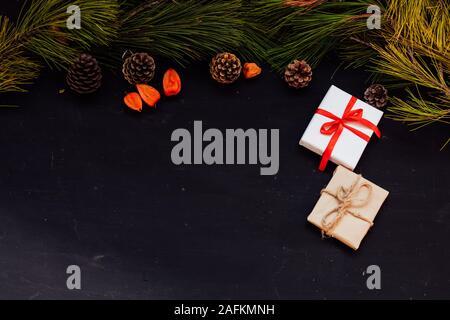 Christmas background card Christmas tree holiday new year gifts decor - Stock Photo
