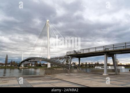 Strasbourg, Bas-Rhin / France - 15 December 2019:  view of the Passerelle des Deux Rives Bridge over the Rhine River outside of Strasbourg - Stock Photo