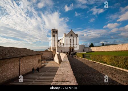 Assisi (Italy) - The Basilica of Saint Francis of Assisi - Stock Photo