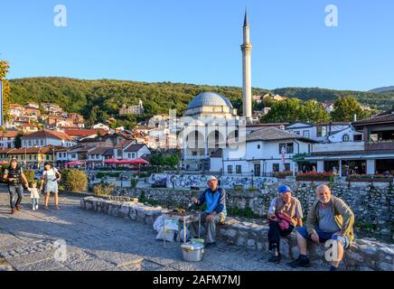 Looking across to The old town of Prizren and The Sinan Pasha Mosque from  the Bistrica river. in Kosovo, central Balkans.