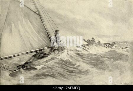 . St. Nicholas [serial]. wd from the hotel On board the rescuing sloop, there was quick ac-tion as she cleared the sheltering point. With aslap, the first heavy gust from the open lake madeeffort to capsize her without more ado. In spiteof her shortened canvas, she heeled wickedly,staggering beneath the weight of the blow. Herlittle crew, in their yellow oilskins, leaned farout to windward, while Skipper Billy, nothingdaunted, pushed down the tiller and righted her,with a tremendous thump, on top of a rushingwave which sent a sheet of spray glancing fromthe backs of the oilskins directly into - Stock Photo