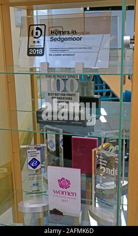 Sunday Times 100 Best Not For Profit Organisations,awards cabinet, Homes In Sedgemoor,Bridgwater,award winning social housing landlord - Stock Photo