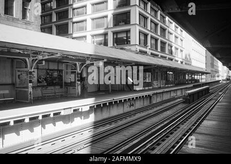 Chicago, Illinois, USA - 1996:  Archival black and white view of elevated train tracks and downtown architecture along Wabash Ave. - Stock Photo