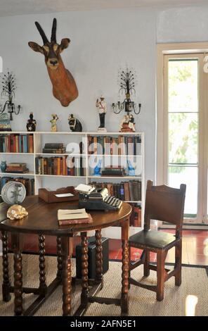 The Study Room in author Ernest Hemingway house, a famous travel destination on tropical Key West, Florida, USA. U.S. National Historic Landmark. - Stock Photo