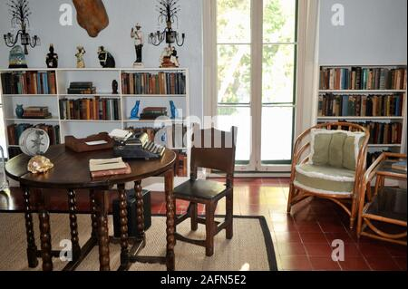 The Study Room in author Ernest Hemingway house, a famous travel destination on tropical Key West, Florida, USA. U.S. National Historic Landmark. - Stock Photo