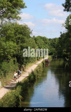 View along the towpath of the Kennet and Avon canal on a sunny summer day with cyclists and a runner on the towpath near Limpley Stoke, Wiltshire. - Stock Photo