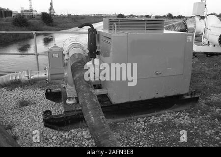 High volume water pumps, flood disaster zone - Stock Photo