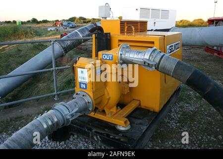 High volume pumps, flood disaster zone - Stock Photo