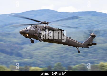 SLIAC / SLOVAKIA - AUGUST 3, 2019: Slovak Air Force Sikorsky UH-60M Black Hawk 7642 transport helicopter display at SIAF Slovak International Air Fest - Stock Photo
