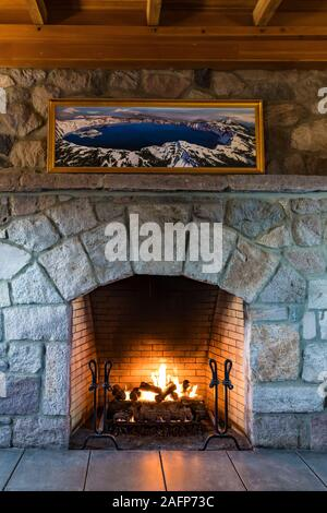 Rustic fireplace of historic Crater Lake Lodge in Crater Lake National Park in Oregon, USA [No property release; available for editorial licensing onl - Stock Photo