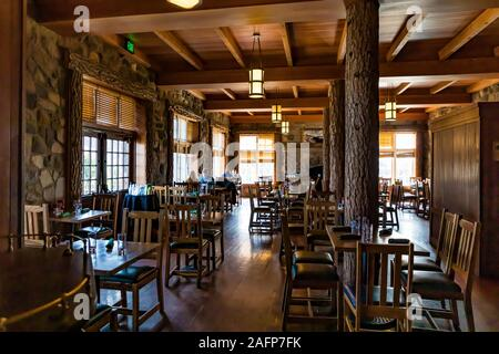 Rustic dining room in historic Crater Lake Lodge in Crater Lake National Park in Oregon, USA [No model releases; available for editorial licensing onl - Stock Photo
