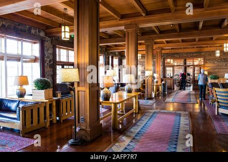 Rustic lobby of historic Crater Lake Lodge in Crater Lake National Park in Oregon, USA [No model releases; available for editorial licensing only] - Stock Photo