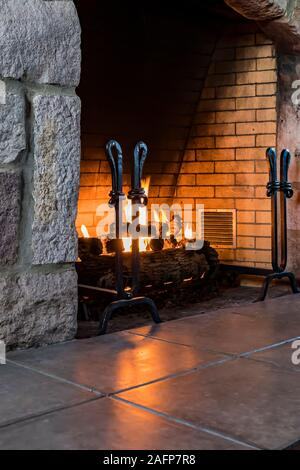 Rustic interior of historic Crater Lake Lodge in Crater Lake National Park in Oregon, USA - Stock Photo