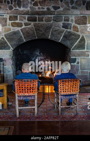 Rustic interior of historic Crater Lake Lodge in Crater Lake National Park in Oregon, USA [No model releases; available for editorial licensing only] - Stock Photo