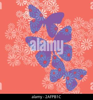 Butterflies and flowers in Living Coral, the hot new Pantone color of the year for 2019. The fun abstract in the on trend color of the year makes the