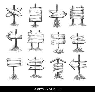 Doodle direction signs - Stock Photo
