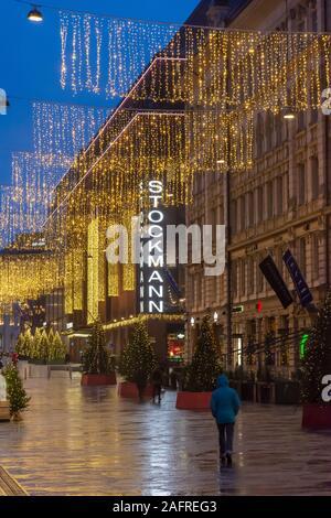 Christmas Decorated Keskuskatu Street in Helsinki Finland - Stock Photo