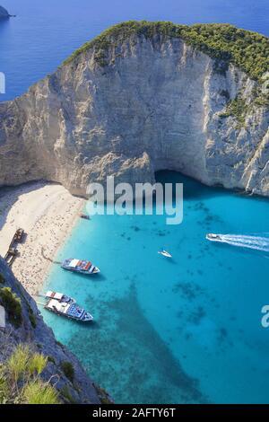 Shipwreck Bay, one of the most beautiful beaches in Greece, Zakynthos island, Greece - Stock Photo