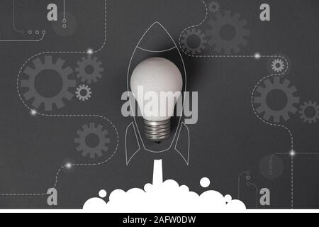 Creative idea concept with crumpled office paper, white light bulb and network connection on virtual interface background, innovative technology in sc - Stock Photo