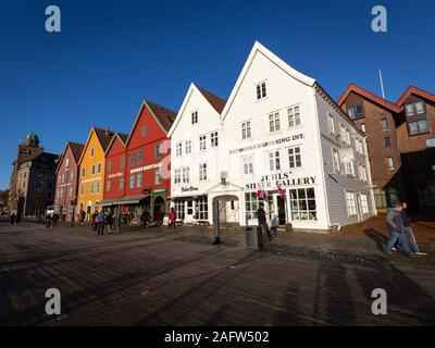 Bryggen, Bergen, Norway - November 2019. Colorful houses of Bryggen. UNESCO World Heritage site - row of old Hanseatic commercial buildings - Stock Photo