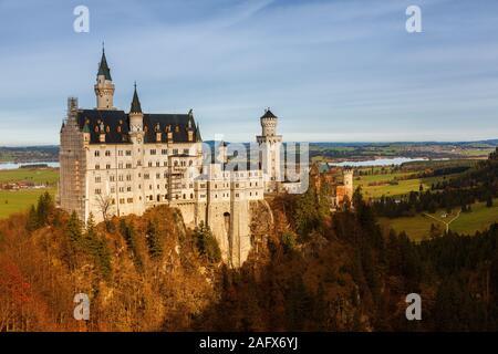 Panoramic view of Neuschwanstein Castle, Bavaria Germany - Stock Photo